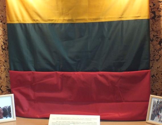 Nufotografuota trispalvė iš audinio, pakabinta mokyklos stende po stiklu. Tai vėliava nuo Gedimino pilies bokšto, kuria mokykla buvo apdovanota už pasiekimus. Šalia vėliavos stende pastatytos dvi nuotraukos įdėtos į rėmelius, kuriuos vaizduoja vėliavos įteikimo mokyklai akimirkas.